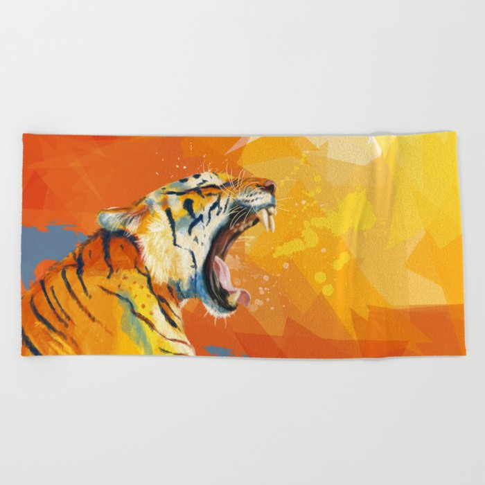 Tiger in the morning Beach Towel
