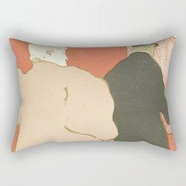 """Henri de Toulouse-Lautrec """"Theatre programme for L'argent by Emile Fabre"""" Rectangular Pillow"""