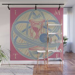 Time Infinity System. Orbit, sandglass, scarab, cicada, mantis. Engraving illustration. Part 1. Wall Mural