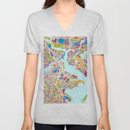 Boston Massachusetts Street Map Unisex V-Neck