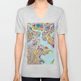 Boston Massachusetts Street Map Unisex V-Neck