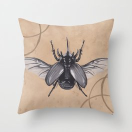 Realism Charcoal Drawing of Beetle Throw Pillow