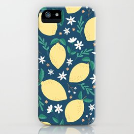 Lemons on Midnight Blue iPhone Case