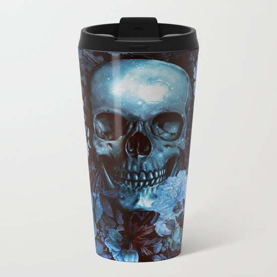 Skull and Flowers Metal Travel Mug