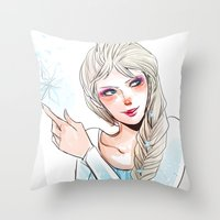 elsa Throw Pillows featuring Elsa by The Radioactive Peach