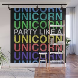 Party Like a Unicorn - Retro Rainbow Finish Wall Mural