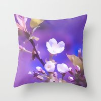 cherry blossoms Throw Pillows featuring CHERRY BLOSSOMS by INA Artist