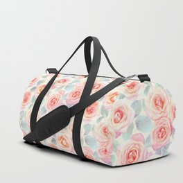 Faded Vintage Painted Roses Duffle Bag