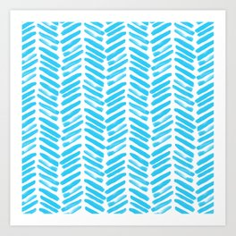 Simple Teal and white handrawn chevron - horizontal - for your summer Art Print