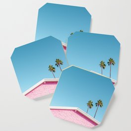 Pink House Roofline with Palm Trees (Palm Springs) Coaster