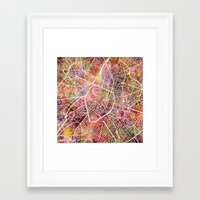 brussels Framed Art Prints featuring Brussels by MapMapMaps.Watercolors