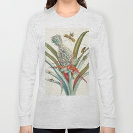 Vintage Pineapple Botanical Print Long Sleeve T-shirt