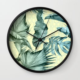 Simply Island Mod Palm Leaves on Pale Yellow Wall Clock