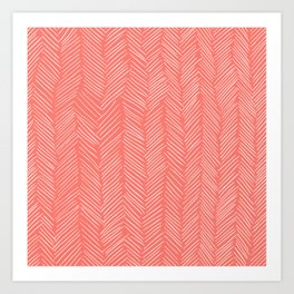 Living Coral Herringbone Happiness Art Print