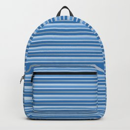 Blue and White Horizontal Striped Pattern Backpack
