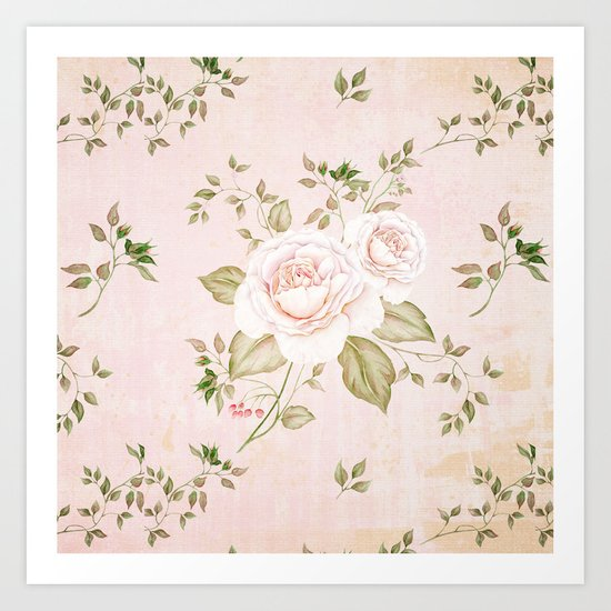 Vintage & Shabby -  floral roses flowers - Rose and Flower Art Print
