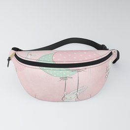 Cute flying Bunny with Balloon and Flower Rabbit Animal on pink floral background Fanny Pack