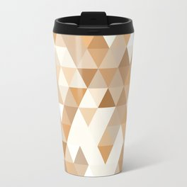 Pale Orange Taupe Brown Pastel Colors Triangles Polygon Pattern Travel Mug