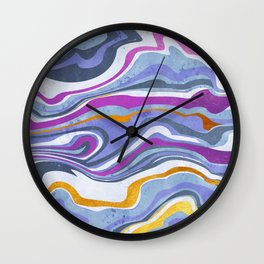 Rainbow gemstone slice // gold purple and ultra violet Wall Clock