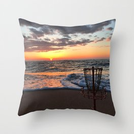 Disc Golf Basket Sunset Virginia Beach Chesapeake Innova Discraft Ocean Waves Throw Pillow