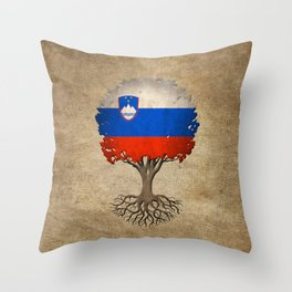 Vintage Tree of Life with Flag of Slovenia Throw Pillow