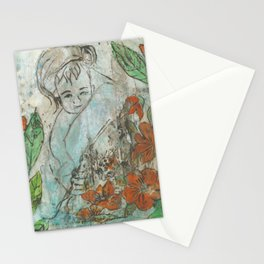 mother and child in the garden Stationery Cards