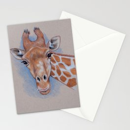 Giraffe: Color Pencil Drawing or a Giraffe Looking at You Stationery Cards