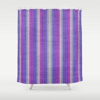 knitting Shower Curtains featuring grannys knitting  by MehrFarbeimLeben