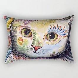 Lucy ... Abstract cat pet animal art Rectangular Pillow