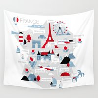 france Wall Tapestries featuring France Map by koivo