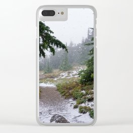 The First Mountain Snowfall Clear iPhone Case