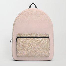 Elegant Girly Gold Rose Pink Glitter Ombre Backpack