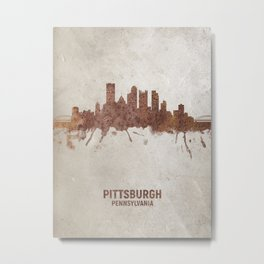 Pittsburgh Pennsylvania Rust Skyline Metal Print