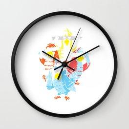 Cockatoo Halloween Mask Colorful Umbrella Cockatoo Wall Clock