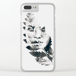 Portrait of woman(leaves) Clear iPhone Case