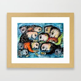 Cell phone addiction Framed Art Print