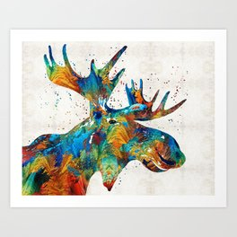 Colorful Moose Art - Confetti - By Sharon Cummings Art Print