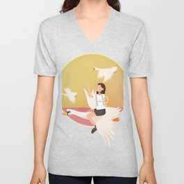 Fly Girl And White Swan Unisex V-Neck