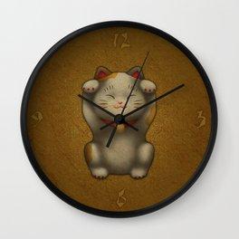 maneki-neko | Lucky Cat (White) Wall Clock