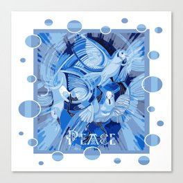 Dove With Celtic Peace Text In Blue Tones Canvas Print
