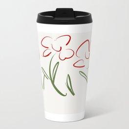 Red Flowers , Red Flower Bursts Metal Travel Mug