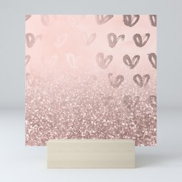 Rose Gold Sparkles on Pretty Blush Pink with Hearts Mini Art Print