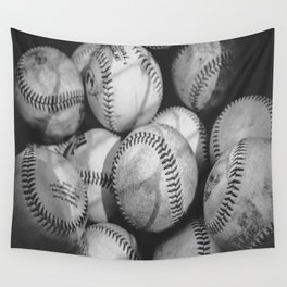 Baseballs in Black and White Wall Tapestry