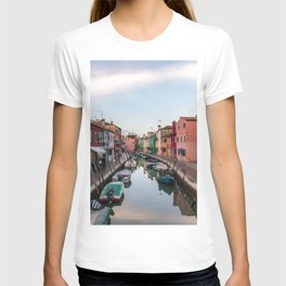 Burano Italy Photography, Colorful House, Veneto, Sunset in Italy, Travel Wall Art T-shirt
