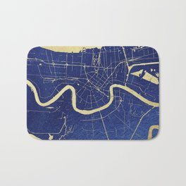 New Orleans Blue and Gold Map Bath Mat