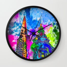 pyramid building and classic building exterior at San Francisco, USA with colorful painting abstract Wall Clock