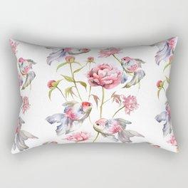 Blush Pink Peony Flowers with Fish Design Rectangular Pillow