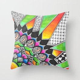 Sun Rays Colour Splash Zendoodle Artwork Throw Pillow