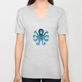 Octopus2 (Blue, Square) Unisex V-Neck