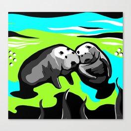 MANATEE LOVE in Blue Green Underwater Canvas Print